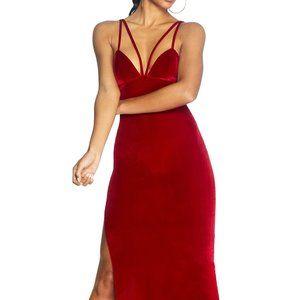 Cosmo x Dress the Population Amber Side Slit Dress
